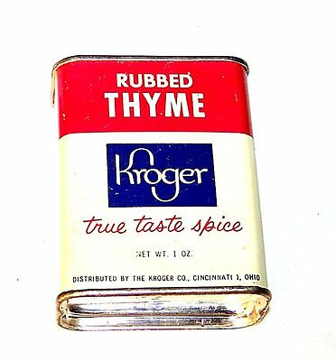 "50s Kroger Foods Cincinnati  Rubbed Thyme Container Can 2 1/2"" Tin Ohio NoRskOfr"