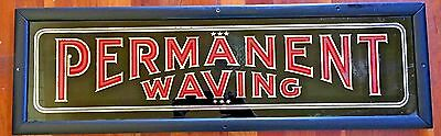 "VTG 1920s 1930s Deco Reverse Glass Painted ""Permanent Waving"" Hair Salon Sign"