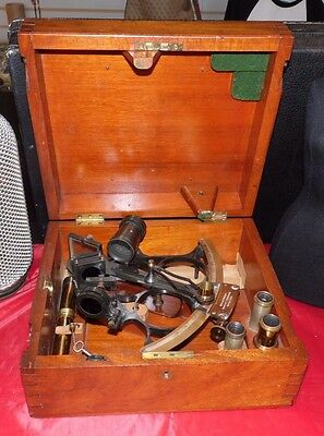 Vintage Early Wilfred O'whites Nautical Instruments Co. Ships Sextant W/box-Key