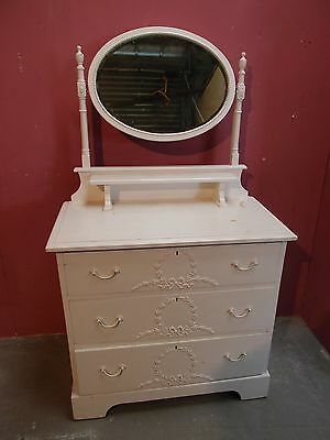 ANTIQUE VICTORIAN PAINTED PINE MIRRORED DRESSING TABLE/CHEST of DRAWERS