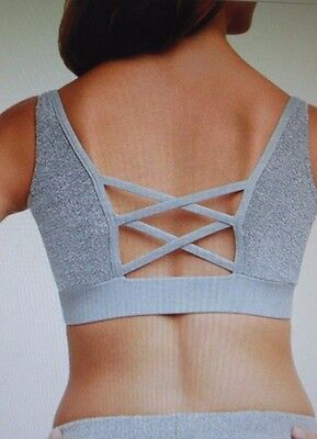 NWT CAPEZIO 10754 Gray Pink Lace Dream Catcher Bra top Ladies sizes strappy back