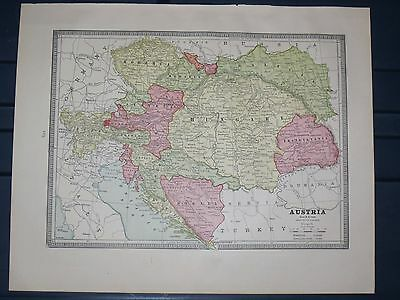 1884  Antique  Cram  MAP ITALY / AUSTRIA listing  Population Mint