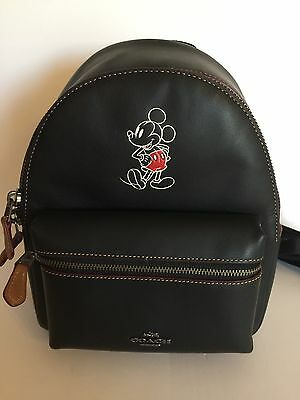Disney X Coach Mickey Leather Mini Charlie Black Backpack New with Tags