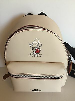 Disney X Coach Mickey Leather Mini Charlie Chalk White Backpack New with Tags