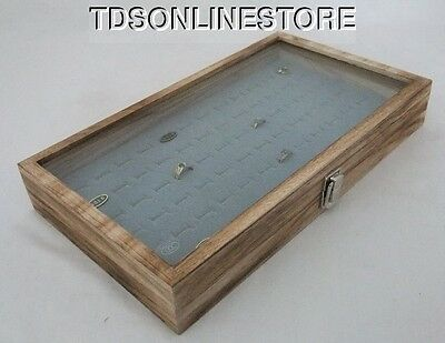 Rustic Antique Oak Color 72 Ring Glass Top Display Case Gray Insert