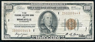 Fr. 1890-I 1929 $100 One Hundred Frbn Federal Reserve Bank Note Low Serial #944