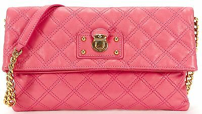 MARC JACOBS Pink Quilted Leather Gold Tone Hardware Shoulder Bag