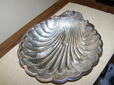 Vintage Oyster Shaped Scalloped Edge Silver Plated Serving Dish-English Mfg. Co.