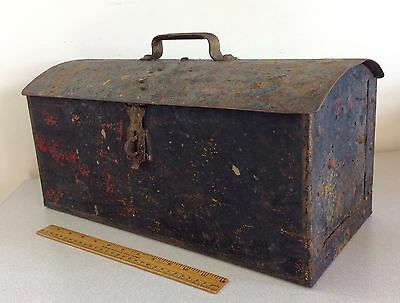 Antique Round Top Railroad Railway Toolbox, Riveted Joint Heavy Gauge Steel