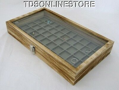 Rustic Antique Brown Color 50 Slot Jewelry Glass Top Display Case White