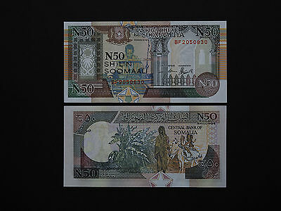 SOMALIA BANKNOTES  50 SHILLINGS  p R2  -  GREAT IMAGES   DATE  1991    MINT UNC