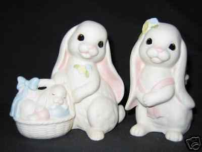 "Homco/Home Interiors ""Lovin' Bunnies"" NIB #12002 Set of 2 Porcelain Rabbits NIB"