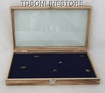 Rustic Antique Oak Color 72 Ring Glass Top Display Case Blue Insert