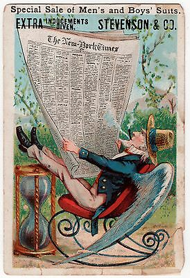 Men's Boys & GAR Suits VintageTrade Card UNCLE SAM in Rocker w/ NEW YORK TIMES!