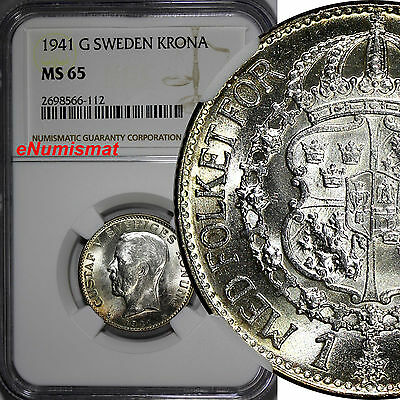 SWEDEN Gustaf V Silver 1941-G 1 Krona NGC MS65 TOP GRADED BY NGC WWII  KM# 786.2