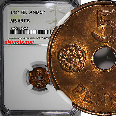 Finland Copper 1941 5 Pennia NGC MS65 RB 1st Year Type   KM# 64.1