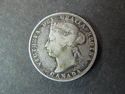 Canada, 1872-H Circulated 25 Cents Silver Coin, Higher Grade