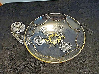 "4-1/2"" Diameter Footed & Handled Blown Art Glass Nappy Enameled Gold Pontil"