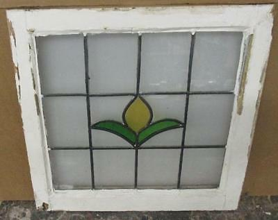 "OLD ENGLISH LEADED STAINED GLASS WINDOW Pretty Tropical Floral ""20.5 x 20.5"""
