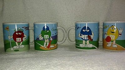 M&M's Set of 4 Red, Yellow, Blue & Green Sports Ceramic Coffee Mugs