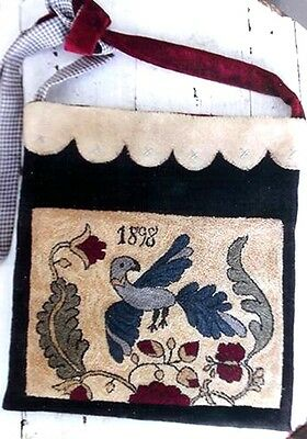 Fraktur Bird Sewing Bag Punch Needle Pattern-Stacy Nash Primitives