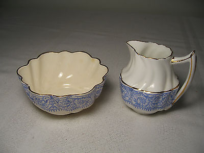 ANTIQUE ENGLISH CHAPMAN VICTORIAN BLUE and WHITE SUGAR + CREAMER