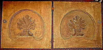 """Pair Salvaged Antique Carved Oak Wood Panel Server Doors 18 x 18.75"""" Wall Decor"""