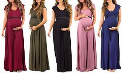 Women's Maternity Maxi Dress with Tummy-Support Band Olive Small