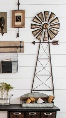 "Rustic Metal Windmill Wall Decor Western Ranch Barn Farmhouse Large 43"" X 14"""