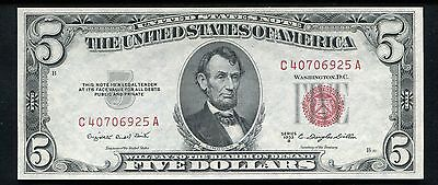 1953-B $5 Five Dollars Red Seal Legal Tender United States Note Gem Unc