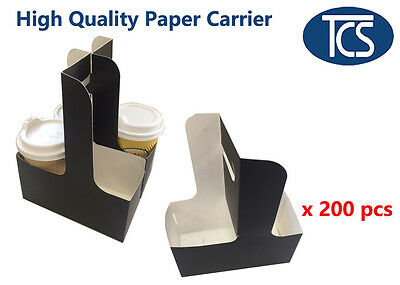 TCS High Quality Cups Coffees Drinks Paper Takeaway Carrier Tray 200 Units / Box