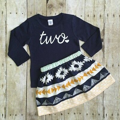 Toddler Kids Baby Girl Clothes T-shirt Tops + Skirt Dress 2PCS Outfits US STOCK