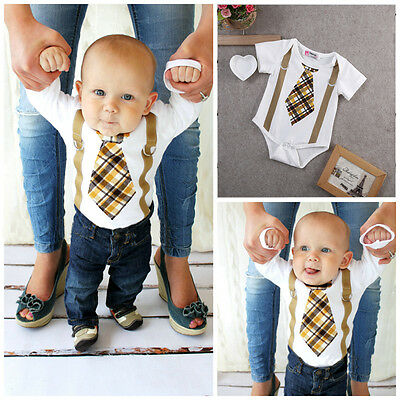 Kids Baby Boy Clothes Plaid Tie and Suspenders Bodysuit Romper Outfits US Stock