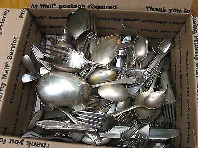 shabby antique silverplate utensils MIXED LOT~100+ pieces~steampunk art & garden