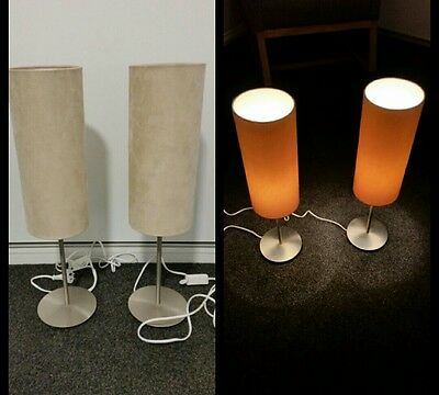 2 x latte suede bedside lamps from Freedom