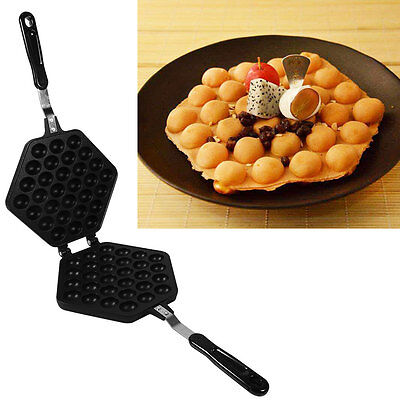 Kitchen Waffle Eggettes Pan Nonstick Egg Bubble Maker Baking Mold Plate Tool hg
