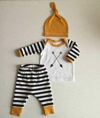 Kids Baby Girl Boy Clothes Arrows Tops T-shirt+Striped Pants 3pcs Outfits Set US