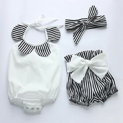 New Kids Baby Girl Clothes Tops Romper+Striped Shorts 3pcs Outfits Set US Stock