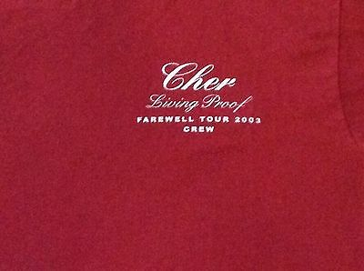 CHER Living Proof Farewell Tour 2003 Local Crew  T Shirt Cranberry L