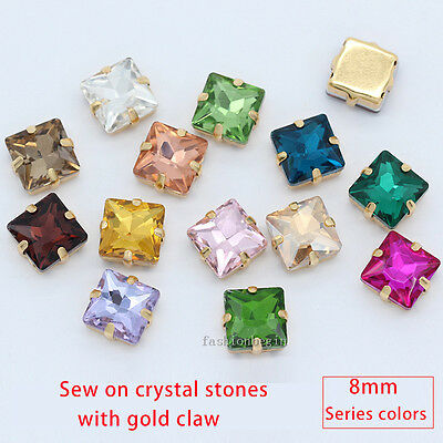 50p 8mm square crystal glass sew on rhinestone Montees jewels beads gold setting