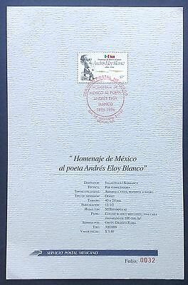 Mexico Commemorative Sheet 1996 Poet Andres Eloy Blanco.