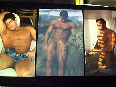 3 Art COLOR 4 x 6 Photos of Handsome Hunky MALE 2 NUDE one Skimpy Shorts
