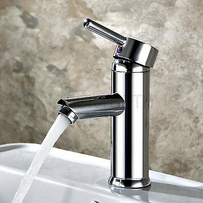 Bathroom Chrome Brass Vanity Tap Sink Basin Mixer Faucet Standard Round NEW