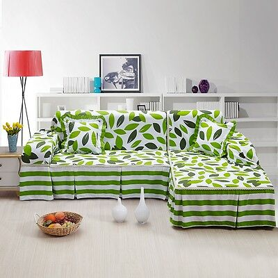 Canvas 100% Cotton Slipcover Sofa Cover Tukl for 1 2 3 4 seater Leaves lyqy