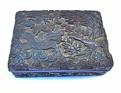 """Nice Antique Chinese Deeply Carved Cinnabar Lacquer Box """"dragon & Phoenix"""""""