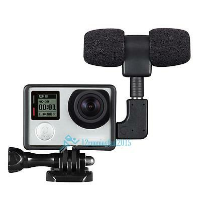 Microphone externe Mic + adaptateur + standard Kit pour GoPro Hero 4 3+ 3 2 New!