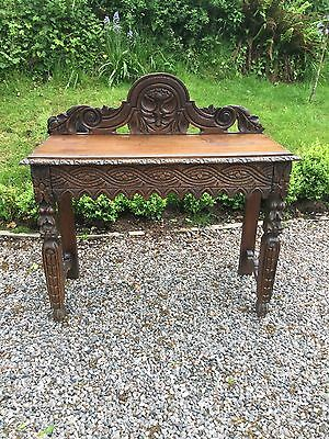 Antique Victorian Carved Oak Hall Console Table With Drawer Under