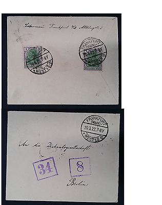 VERY RARE 1922 Germany Cover ties 2 x 1 Mk Germania stamps canc Frankfurt