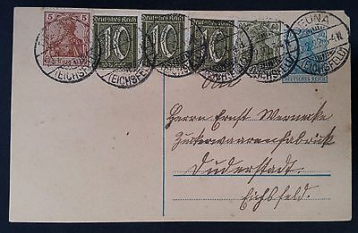 VERY RARE 1922 Germany Cover ties 6 stamps canc Deuna to Duderstadt