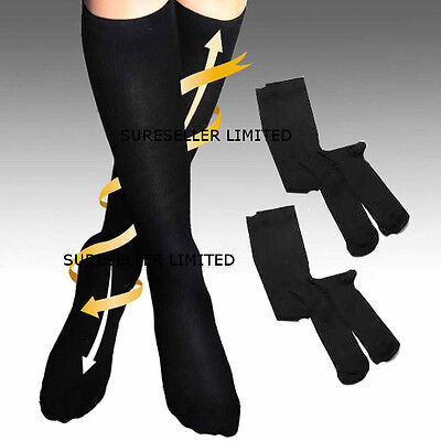2 x Pairs Mens Womens Flight Travel Socks Compression Anti Swelling DVT Support